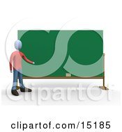 Blue Teacher Standing In Front Of A Blank Chalkboard And Pointing Clipart Illustration Image