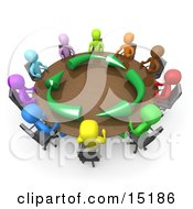 Group Of A Diverse And Colorful Group Of People Seated And Holding A Meeting About Running An Environmentally Friendly Company Around A Round Conference Table
