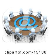 Group Of Light Blue People Holding A Meeting About Communications At A Large Conference Table With A Blue At Symbol In An Office