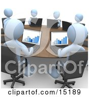 Group Of Blue Students Or Employees In A Training Class Using Laptop Computers To View Charts And Graphs While Seated Around A Conference Table Clipart Illustration Image