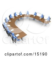 Group Of Blue People Seated And Holding A Meeting At A Large U Shaped Conference Table