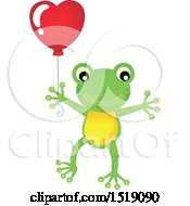 Clipart Of A Valentine Frog Holding A Heart Balloon Royalty Free Vector Illustration by visekart