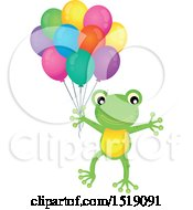 Clipart Of A Frog Holding Party Balloons Royalty Free Vector Illustration by visekart