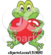 Clipart Of A Valentine Frog Hugging A Heart Royalty Free Vector Illustration by visekart