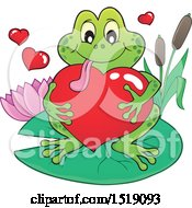 Clipart Of A Valentine Frog Hugging A Heart On A Lily Pad Royalty Free Vector Illustration by visekart