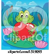 Clipart Of A Valentine Frog Hugging A Heart On A Lily Pad Royalty Free Vector Illustration
