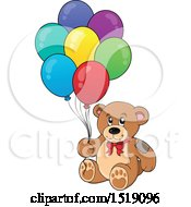 Clipart Of A Teddy Bear Holding Party Balloons Royalty Free Vector Illustration by visekart