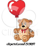 Clipart Of A Teddy Bear Holding A Heart Balloon Royalty Free Vector Illustration by visekart