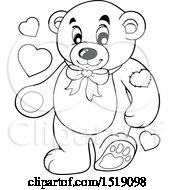 Black And White Valentine Teddy Bear With Hearts