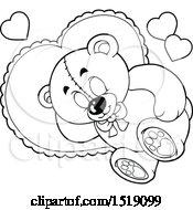 Black And White Valentine Teddy Bear Sleeping On A Heart