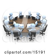 Group Of Blue People Students Or Employees During A Training Class Using Laptop Computers To View Charts And Graphs While Seated Around A Conference Table Clipart Illustration Image