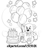 Black And White Teddy Bear Holding Party Balloons By A Cake