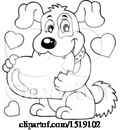 Clipart Of A Black And White Dog Holding A Valentine Heart Royalty Free Vector Illustration