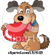 Clipart Of A Dog Holding A Valentine Heart Royalty Free Vector Illustration