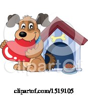 Dog Holding A Valentine Heart By A House