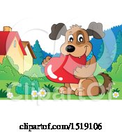 Clipart Of A Dog Holding A Valentine Heart In A Yard Royalty Free Vector Illustration