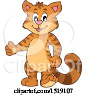 Clipart Of A Cat Giving A Thumb Up Royalty Free Vector Illustration