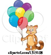 Clipart Of A Cat Holding Party Balloons Royalty Free Vector Illustration by visekart