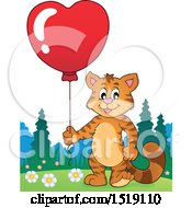 Clipart Of A Valentine Cat Holding A Heart Balloon Royalty Free Vector Illustration