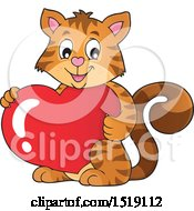 Clipart Of A Valentine Cat Holding A Heart Royalty Free Vector Illustration