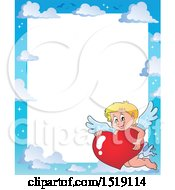 Clipart Of A Sky Border With A Happy Cupid Hugging A Valentine Heart Royalty Free Vector Illustration by visekart