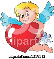 Clipart Of A Happy Cupid Hugging A Valentine Heart Royalty Free Vector Illustration