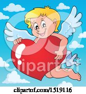 Clipart Of A Happy Cupid Hugging A Valentine Heart Royalty Free Vector Illustration by visekart