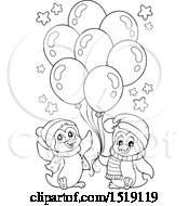 Poster, Art Print Of Black And White Penguins With Party Balloons