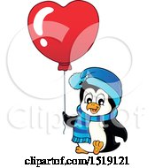 Clipart Of A Penguin Holding A Heart Balloon Royalty Free Vector Illustration by visekart