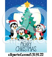 Christmas Tree With Penguins And A Greeting