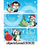 Merry Christmas Banners With Penguins