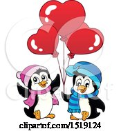 Clipart Of Penguins Holding Heart Balloons Royalty Free Vector Illustration by visekart