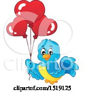Clipart Of A Blue Bird Holding Valentine Heart Balloons Royalty Free Vector Illustration