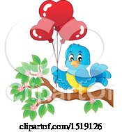 Clipart Of A Blue Bird Holding Valentine Heart Balloons Royalty Free Vector Illustration by visekart
