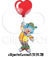 Clipart Of A Clown Floating With A Valentine Heart Balloon Royalty Free Vector Illustration