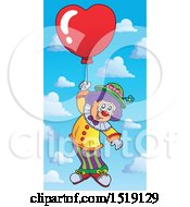 Clown Floating With A Valentine Heart Balloon