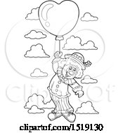 Black And White Clown Floating With A Valentine Heart Balloon
