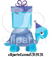 Clipart Of A Blue Boy Tortoise With A Gift And Copyspace Royalty Free Vector Illustration by visekart
