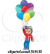 Clipart Of A Boy Holding Party Balloons Royalty Free Vector Illustration by visekart