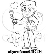 Poster, Art Print Of Black And White Male Valentine Holding A Heart And Rose