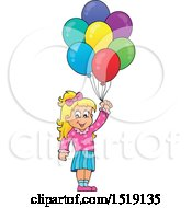 Clipart Of A Blond Girl Holding Party Balloons Royalty Free Vector Illustration by visekart