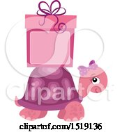 Clipart Of A Pink Girl Tortoise With A Gift And Copyspace Royalty Free Vector Illustration by visekart