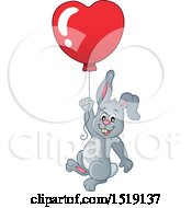 Clipart Of A Rabbit Holding A Heart Balloon Royalty Free Vector Illustration
