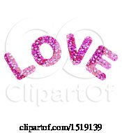 3d Word LOVE Formed Of Hearts On A White Background