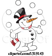 Clipart Of A Cartoon Snowman Juggling Snow Balls Royalty Free Vector Illustration by Johnny Sajem