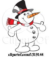 Clipart Of A Cartoon Snowman With Open Arms Royalty Free Vector Illustration by Johnny Sajem