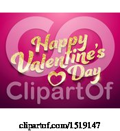 Clipart Of A Golden Glitter Happy Valentines Day Greeting On Gradient Pink Royalty Free Vector Illustration