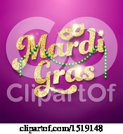 Clipart Of A Golden Glitter Mardi Gras Design With Green Beads And A Mask On Purple Royalty Free Vector Illustration