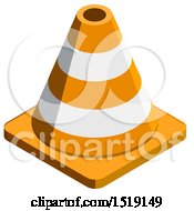 Clipart Of A 3d Traffic Cone Icon Royalty Free Vector Illustration