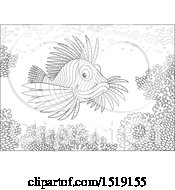 Clipart Of A Black And White Lionfish At A Coral Reef Royalty Free Vector Illustration by Alex Bannykh